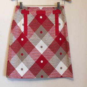 ETCETERA RED PLAID RIBBON TRIMMED A-LINE SKIRT 0